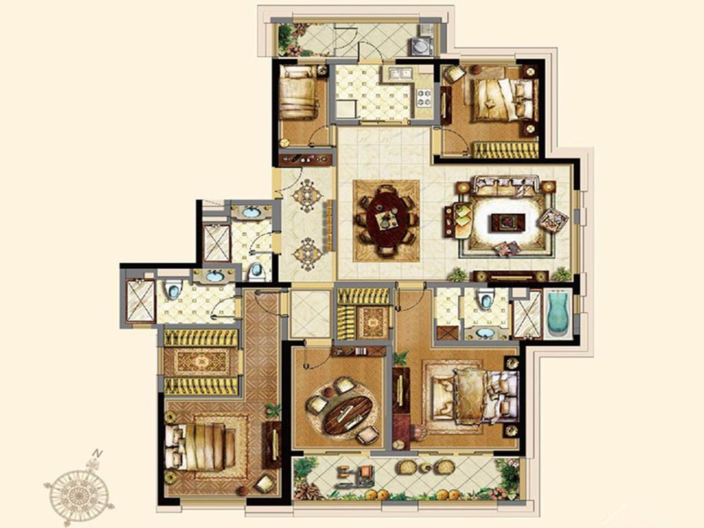 黄浦滩名苑 装修设计 欧式古典 豪宅设计师 户型图图片来自孔继民在黄浦滩名苑四房户型设计案例的分享