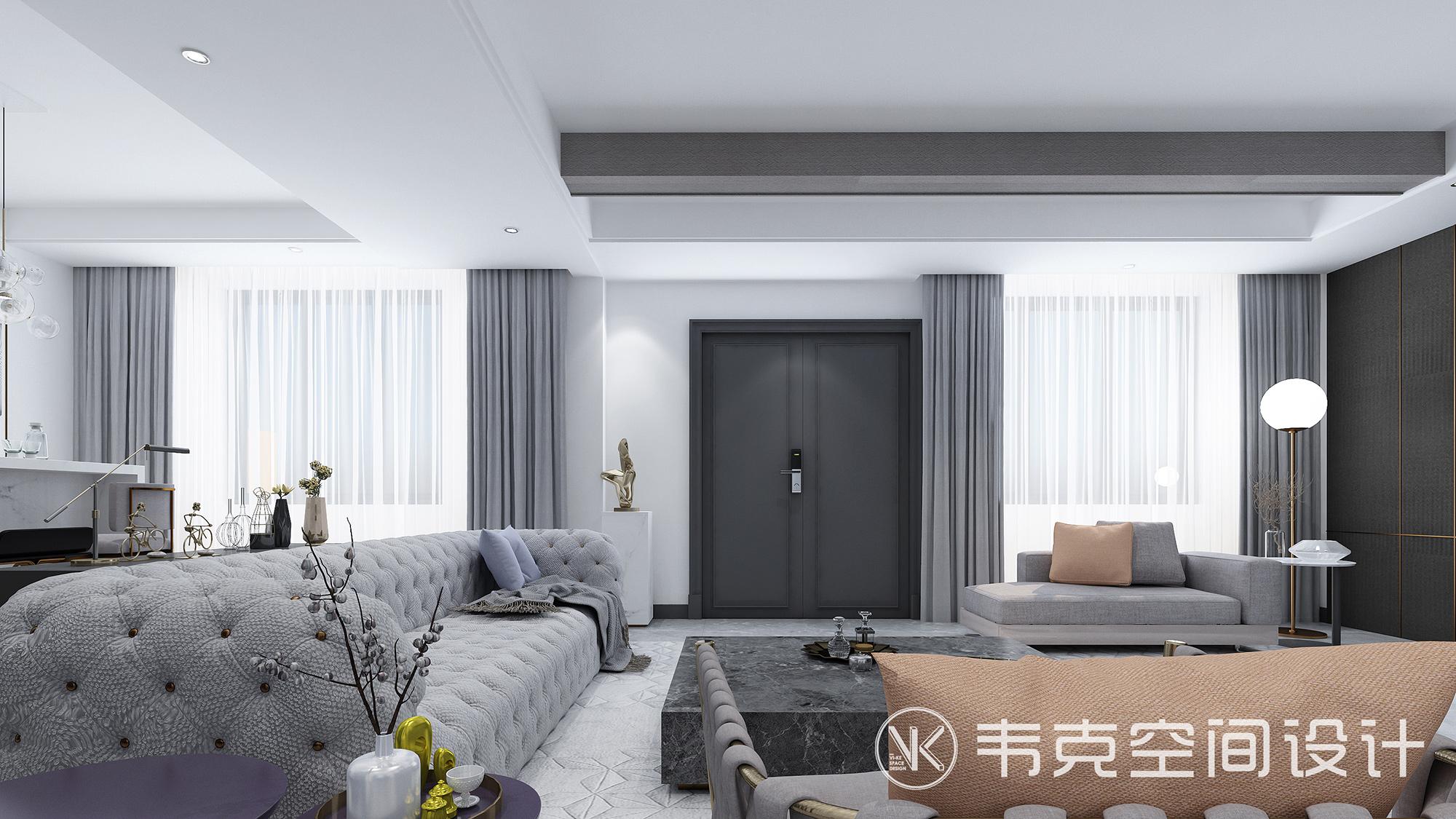 别墅 轻奢 6室 客厅图片来自韦克空间设计在380㎡轻奢6居室:尽显优雅轻奢范的分享