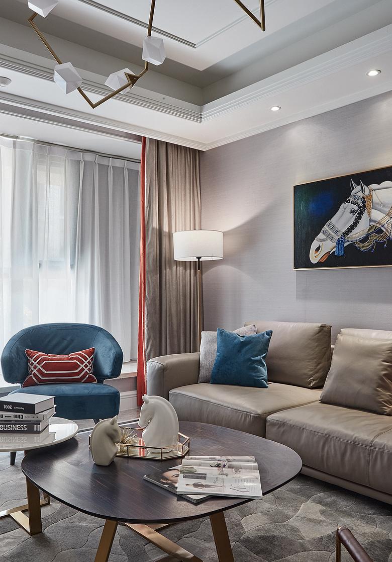 客厅图片来自家装大管家在89平现代简约空间 暖色调时尚风的分享