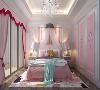 墙面3/4面积采用粉红饰面, 茉莉盛开的水晶吊灯 精妙点缀 家里小公主甜蜜成长