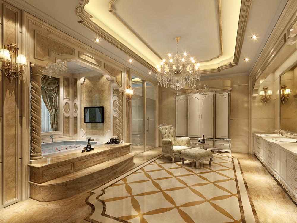 水岸新都 别墅装修 欧式古典 别墅设计师 腾龙设计 卫生间图片来自孔继民在800平别墅欧式古典风格设计的分享