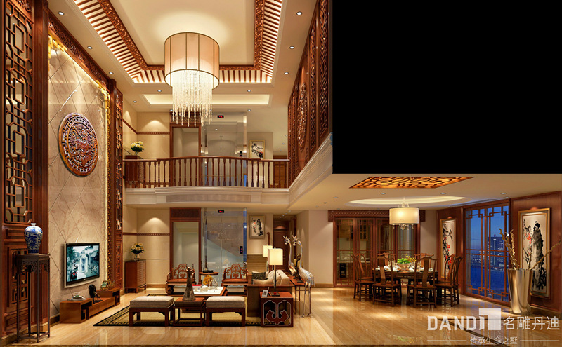 别墅 混搭 客厅图片来自名雕丹迪在燕晗山居-混搭风格-叠墅-500平的分享