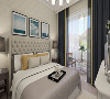 主卧室很温馨,内嵌式壁橱不会凸显柜子的存在,整个房间以米黄色调为主,蓝色为点缀,干净和谐,视角很舒适