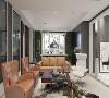 进入放进映入眼帘的是没有主灯的客厅,土棕色的沙发环绕客厅中间,氛围在绿色背景墙的衬托下显得温馨很有活力,地上的毛绒玩具可以感觉到家庭的幸福和孩子分割不开的,如此的和谐而温馨画面想想都是极美的。