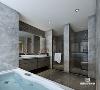 卫生间 大理石从地面到墙体全面覆盖 泡澡、淋浴、坐便功能区全面分开