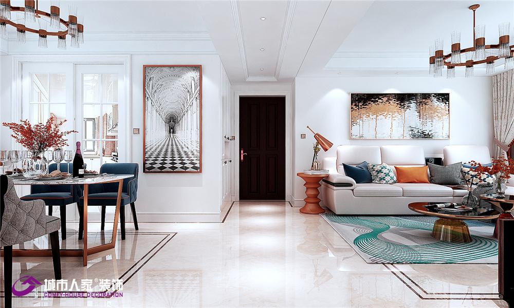 简约 欧式 客厅图片来自济南城市人家装修公司-在济南财富壹号装修简欧风格案例的分享