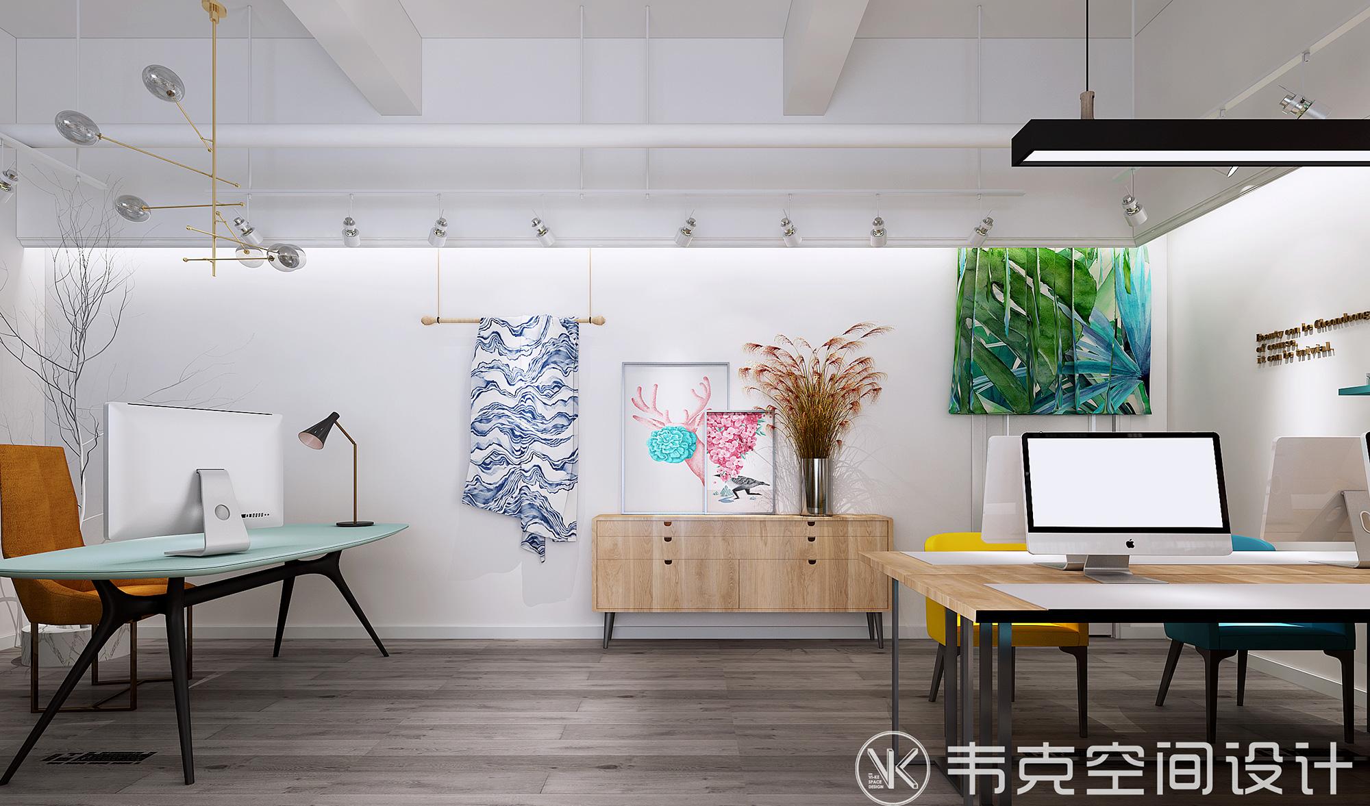 客厅图片来自韦克空间设计在70㎡小北欧:好色的服装工作室的分享