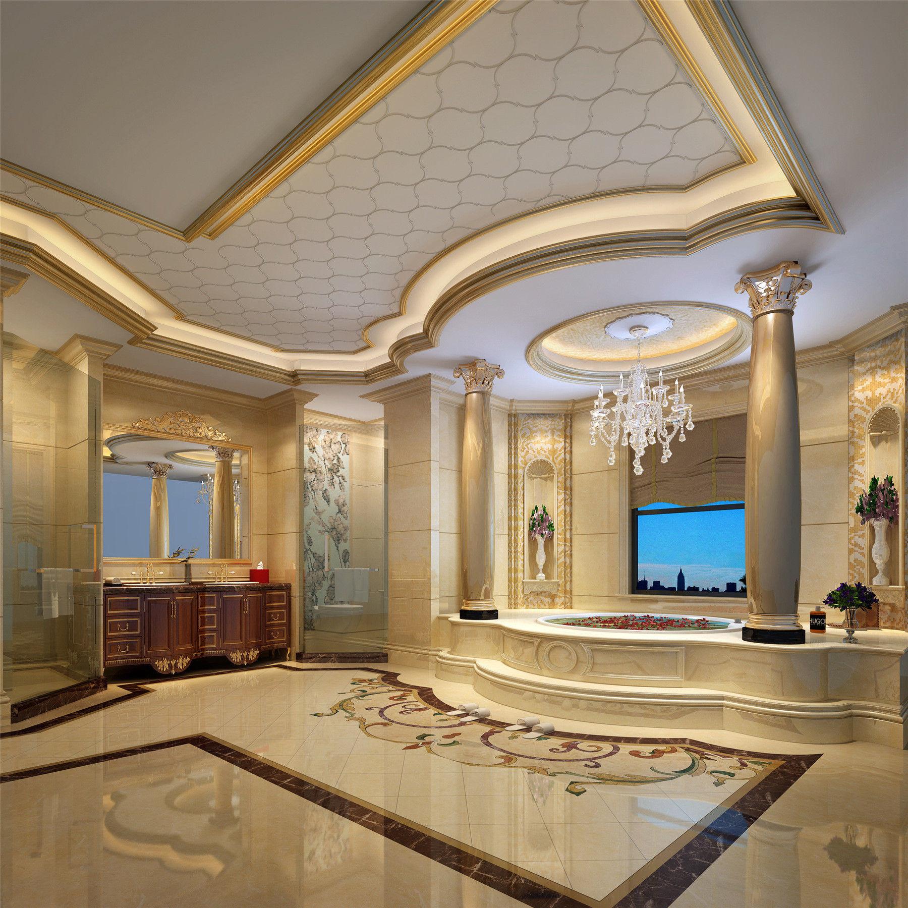 别墅装修 欧式古典 腾龙设计 郭建作品 卫生间图片来自孔继民在1300平别墅装修欧式古典风格设计的分享