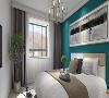 色彩鲜明的墙面,给人以眼前一亮的感觉,搭配灰色系的床,给人以稳重、时尚的感觉