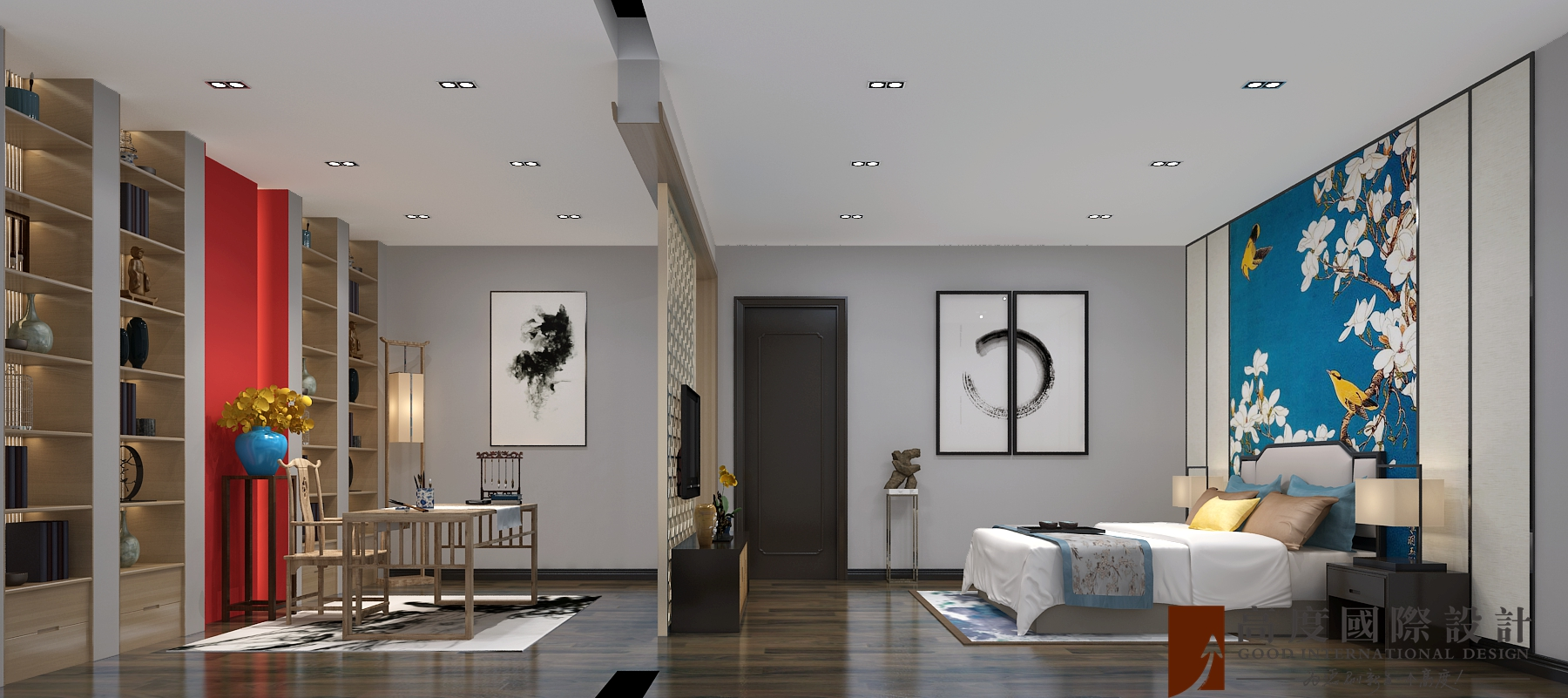 卧室图片来自北京高度国际在承德自建别墅--800新中式风格的分享