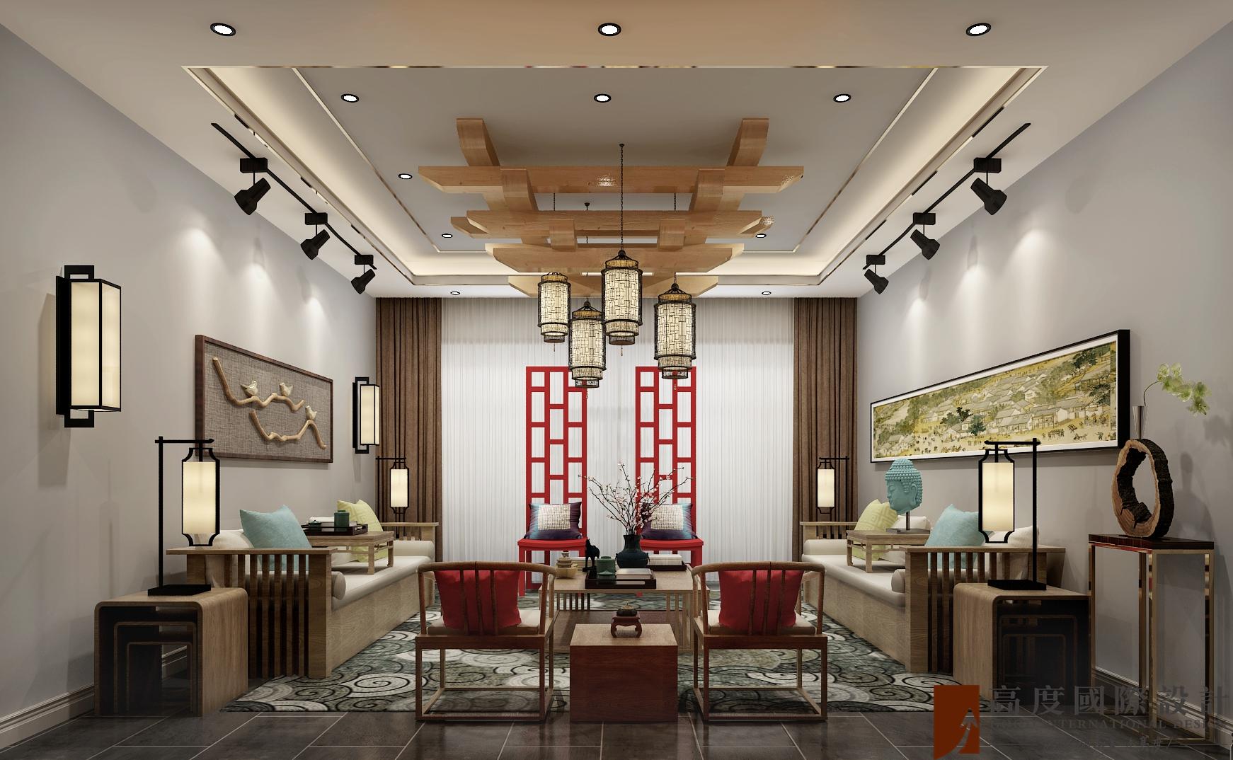 客厅图片来自北京高度国际在承德自建别墅--800新中式风格的分享