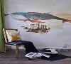 儿童房暂无功能布置,借餐椅来个简单的摆拍。奇幻工业风格的背景墙绘很精美,有助于启发小孩子的想象力,绿色的亚麻窗帘则散发出自然、健康的活力。