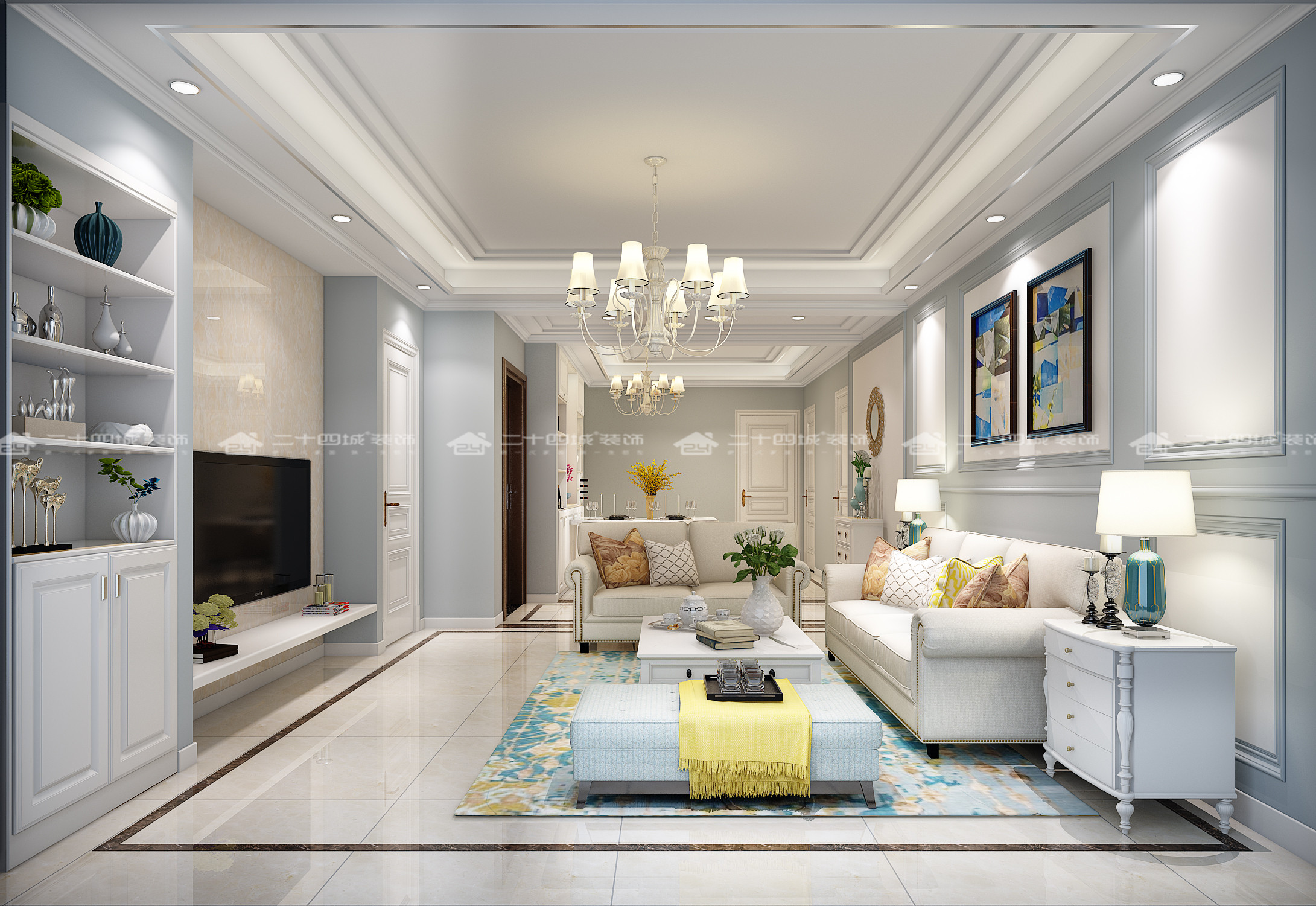 欧式 白领 小资 梦想改造家 清新 文艺 舒适 简约 客厅图片来自二十四城装饰(集团)昆明公司在银海泊岸 简欧的分享