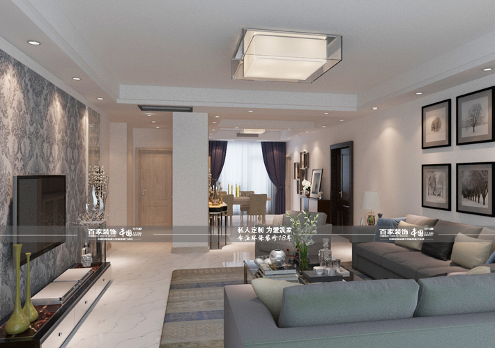四居 世茂五里河 现代简约 客厅图片来自百家设计小刘在世茂五里河220平现代简约风格的分享