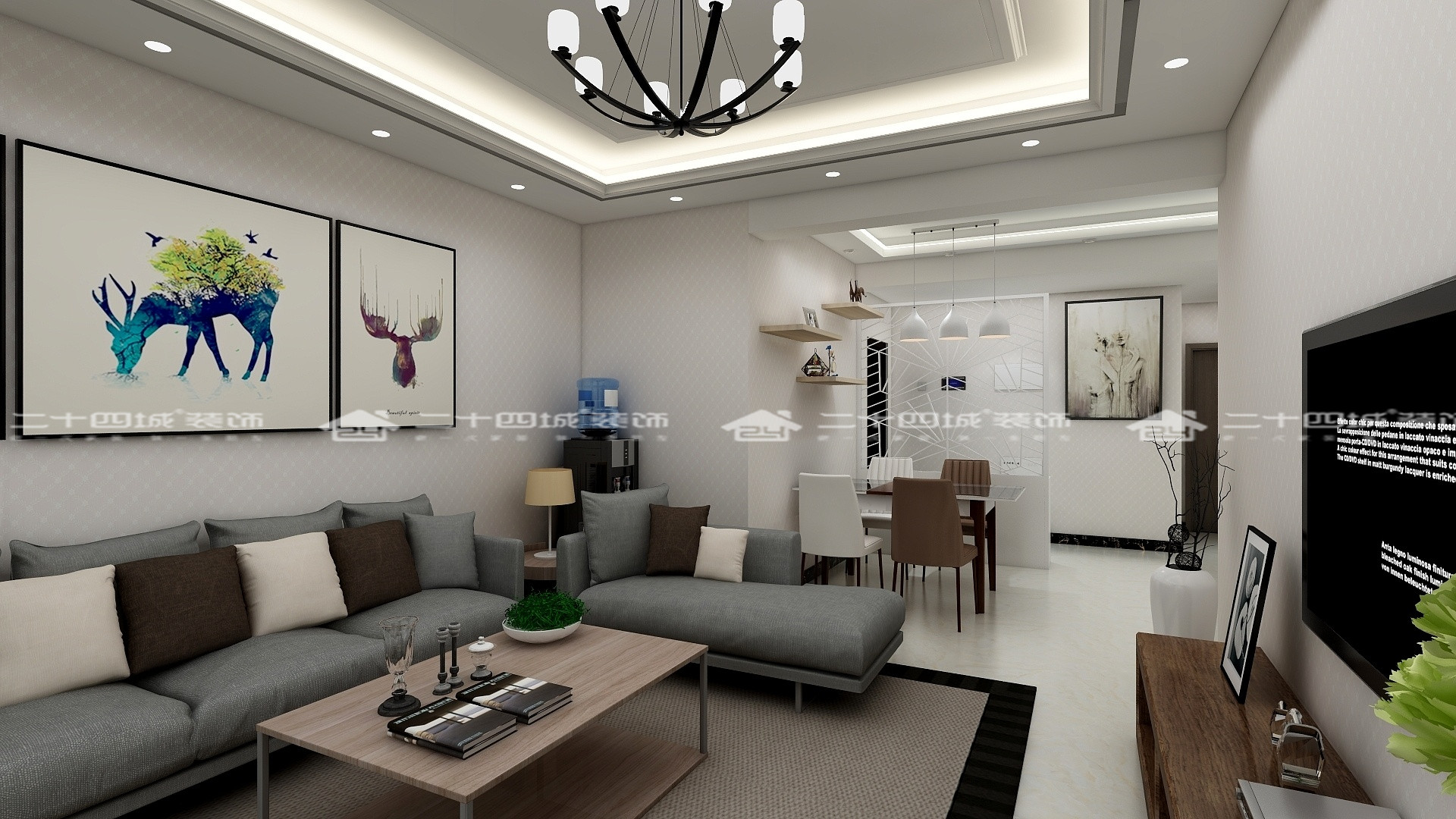 简约 现代 三居 白领 90后 小资 收纳 性冷淡风 舒适 客厅图片来自二十四城装饰(集团)昆明公司在时代俊园 现代简约风的分享