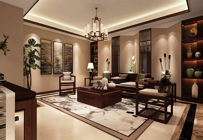 青浦雍景湾 别墅装修 中式风格 别墅设计 客厅图片来自孔继民在青浦雍景湾280平别墅项目设计的分享