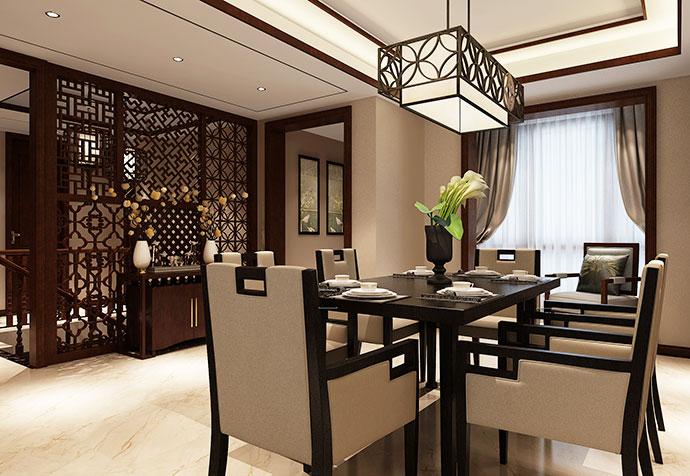 青浦雍景湾 别墅装修 中式风格 别墅设计 餐厅图片来自孔继民在青浦雍景湾280平别墅项目设计的分享
