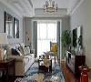 客厅墙面刷蓝灰色漆,搭配浅色沙发、深色茶几电视柜,结合抽象派地毯,整体空间时尚感强又不缺舒适气息。