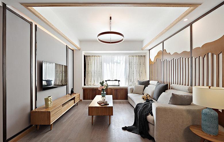 客厅图片来自家装大管家在淡然儒雅 110平新中式雅致3居室的分享