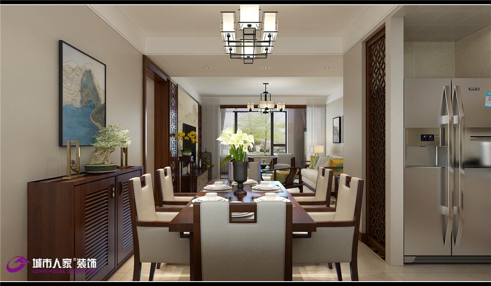 新中式 济南装修 餐厅图片来自济南城市人家装修公司-在财富壹号装修新中式风格的分享