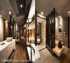 廊道 以艺廊概念打造的廊道左右分列展示平台,也成为界分卫浴与书房的中介。马健凯设计师另运用仿木纹砖及深色砖体,构筑风格相仿的卫浴空间。
