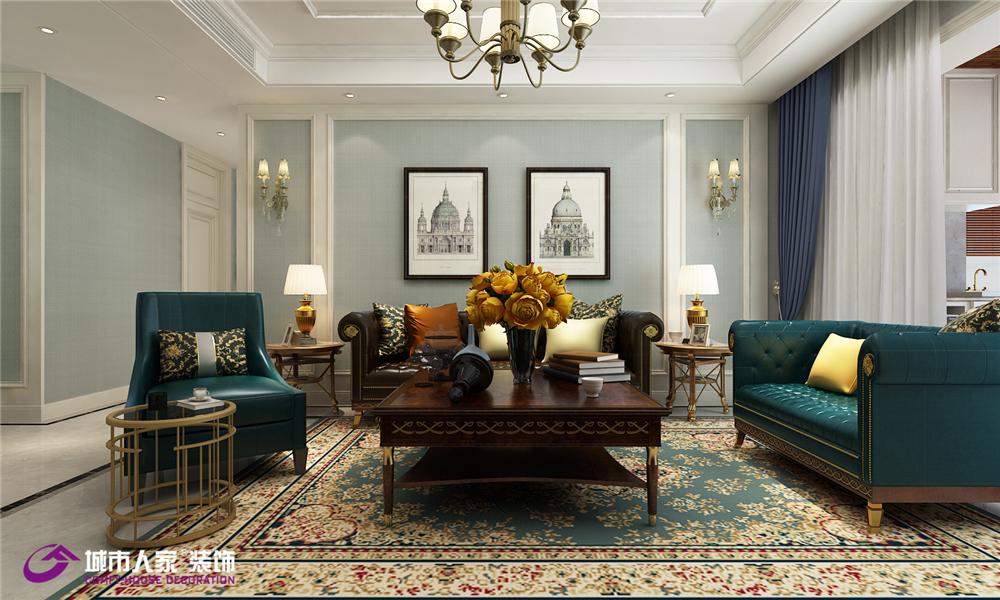 美式 简约 客厅图片来自济南城市人家装修公司-在恒大翡翠华庭装修效果图的分享