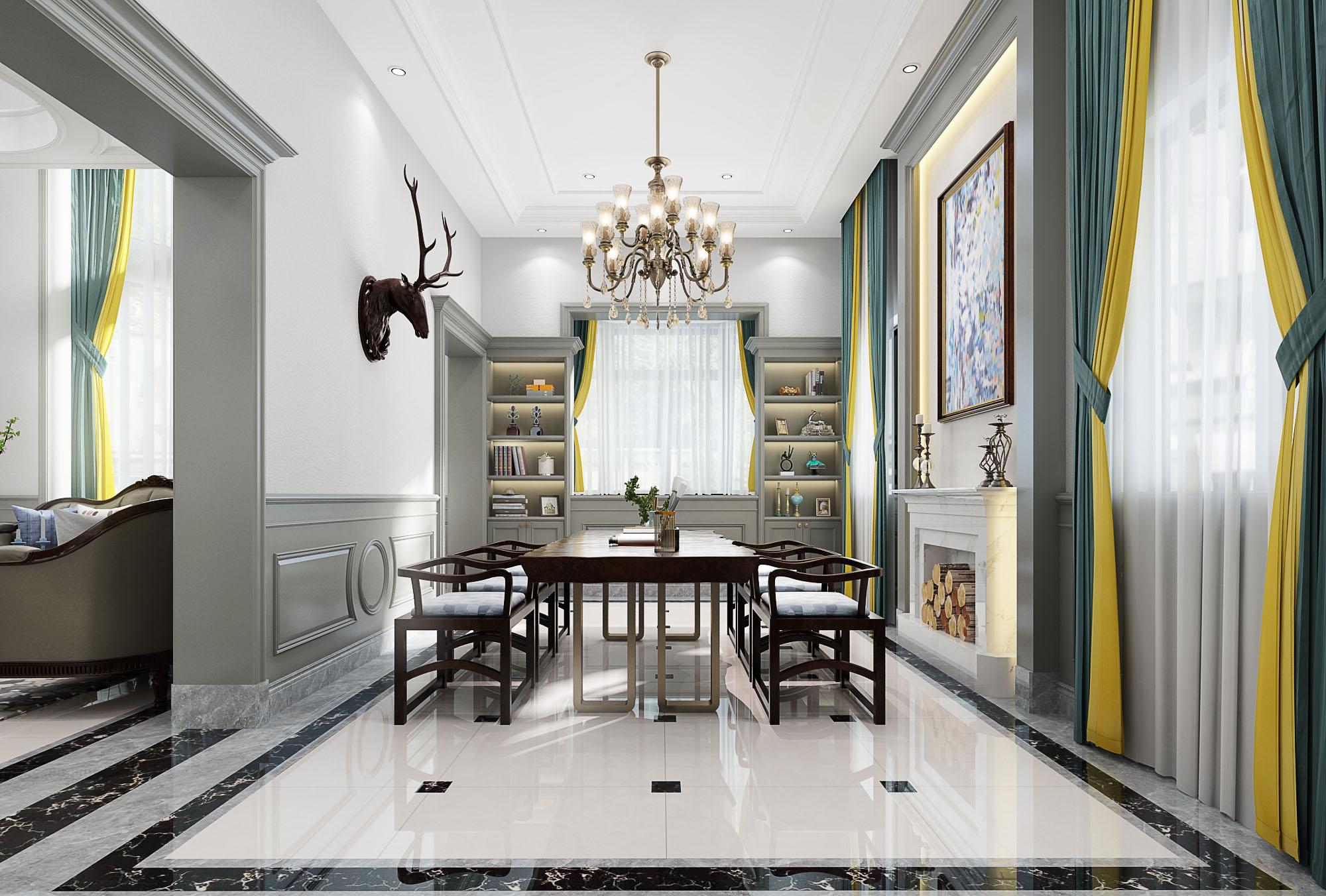 小资 别墅 书房图片来自云南俊雅装饰工程有限公司在天骄北麓  新中式的分享