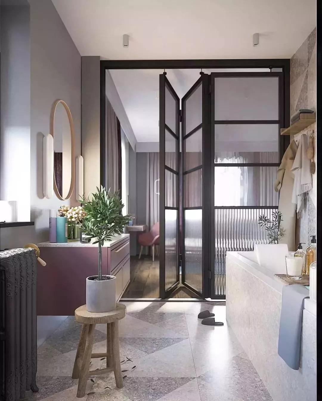 卫生间图片来自鹏友百年装饰在这种配色,不是每个设计师都敢用的分享