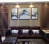 新中式客厅沙发背景墙挂画