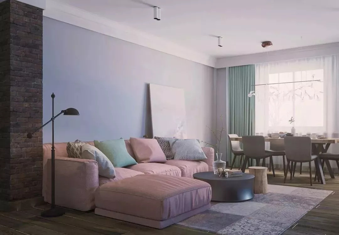 客厅图片来自鹏友百年装饰在这种配色,不是每个设计师都敢用的分享