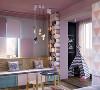 儿童房以糖果色为主 将淡蓝色的冷色调和淡粉色的暖色调碰撞在一起 再加入各种 LED 灯渲染气氛 凸显出神秘梦幻感