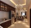 开放式的厨房跟餐厅联通,通透舒适。