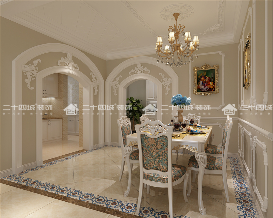 欧式 古典 混搭 欧式古典 白领 小资 收纳 未来家 定制家装 餐厅图片来自二十四城装饰(集团)昆明公司在东鸣佳苑 欧式古典的分享