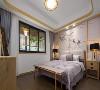 主卧整面墙的花鸟图搭配木板,层次感十足,整体颜色以浅色为主,打造高雅气质的居住环境。