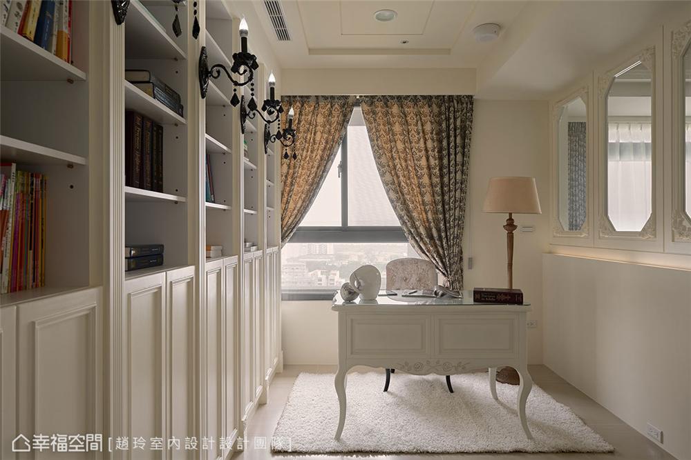 装修设计 装修完成 新古典风格 小资 书房图片来自幸福空间在132平,三款色!优雅新古典温度的分享
