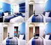 主卧 以清爽的蓝色作为主色,空间三面都靠墙规划收纳机能,衣柜侧边隐藏独立的推拉式穿衣镜,卧榻区下方也设置抽屉,形成流畅的行走动线。