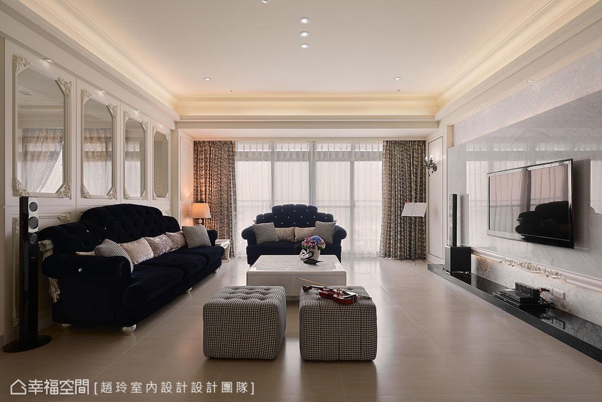 装修设计 装修完成 新古典风格 小资 客厅图片来自幸福空间在132平,三款色!优雅新古典温度的分享