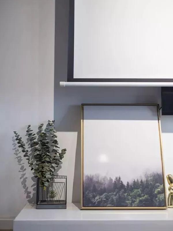 丰富的绿植让人感觉在静谧中多了一丝灵动纤小的温暖,靠窗的收纳柜摆放着生活的温暖琐碎,小巧的巴哥犬和轻巧的羽毛摆件俏皮温软,生活不止有远方的霞,还有当下和鲜花。