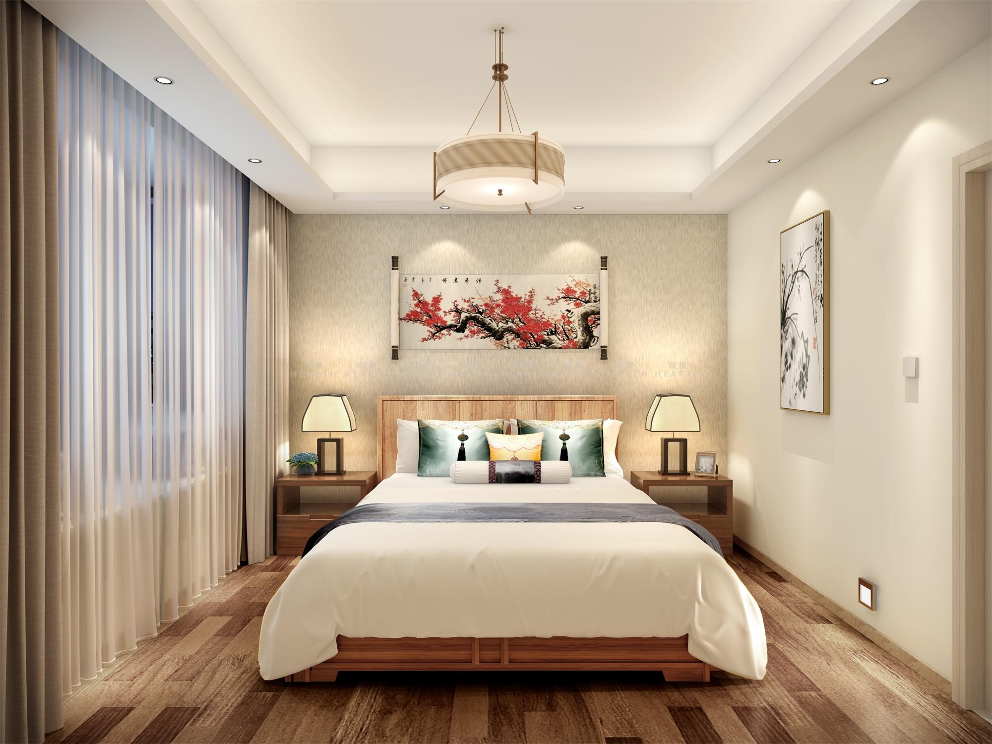 小资 三居 新中式 卧室图片来自观巢国际实景家装在中国玺 147 三室 新中式风格的分享