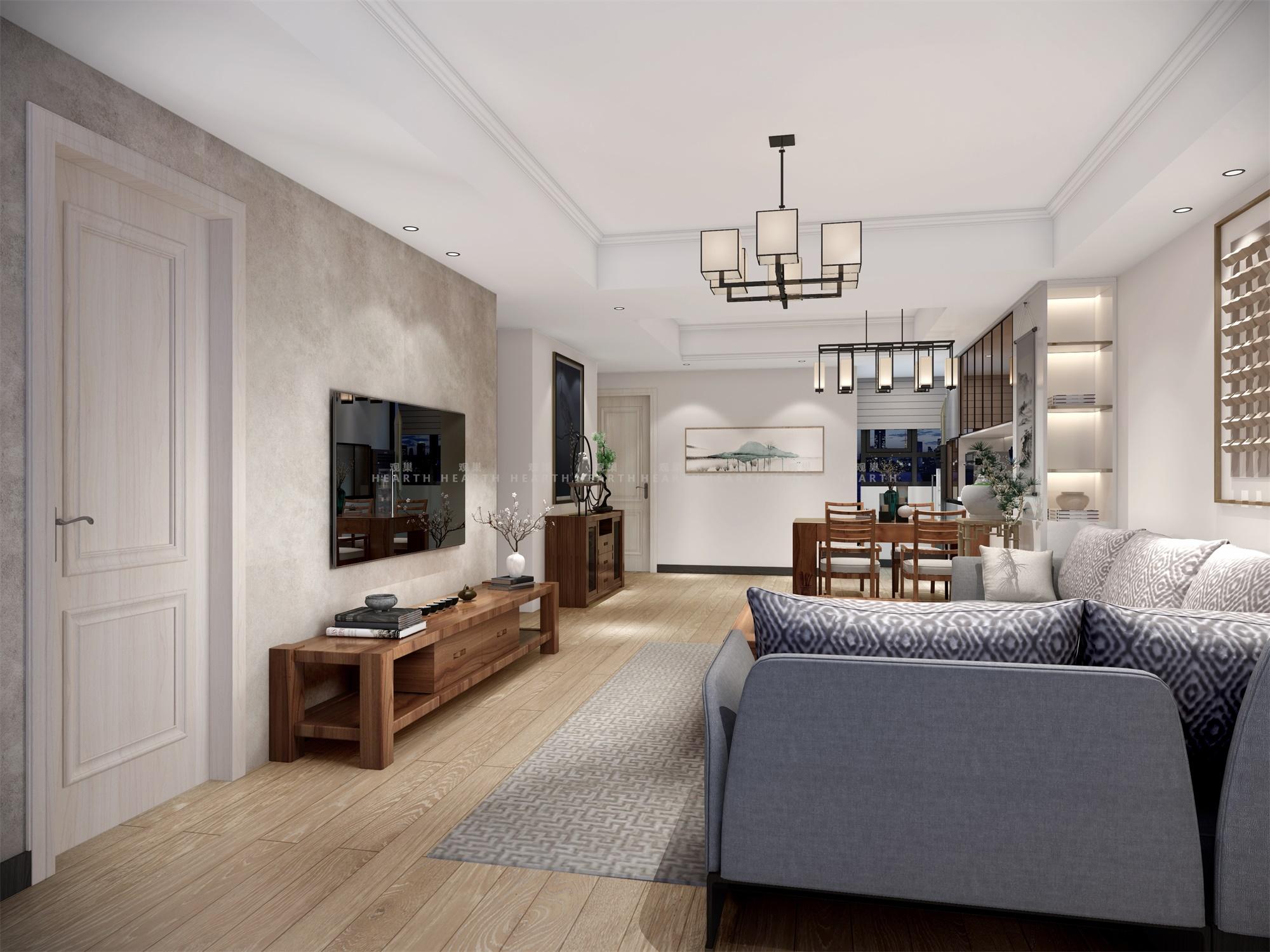 小资 三居 新中式 客厅图片来自观巢国际实景家装在中国玺 147 三室 新中式风格的分享