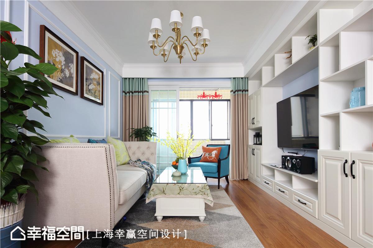 简美 幸赢空间 上海装修 80后 小资 收纳 白领 新房 客厅图片来自幸福空间在86平,储物极限挑战!简约美式的分享