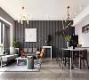 沙发墙黑、灰色的竖纹壁纸延续到餐厅,营造客餐厅一体的整体感,自己的家毋须过多的拘束感。