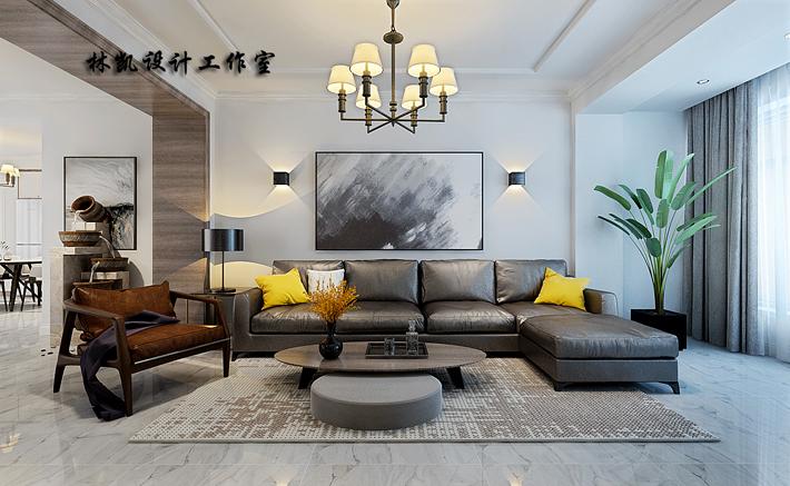 客厅图片来自沈阳百家装饰小姜在百家装饰医科大学家属楼120平的分享