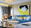 蓝色沙发装饰白色抱枕,搭配金属双层茶几,装饰力十足。客厅人物装饰画造型鲜活,眼神更是引人注目。