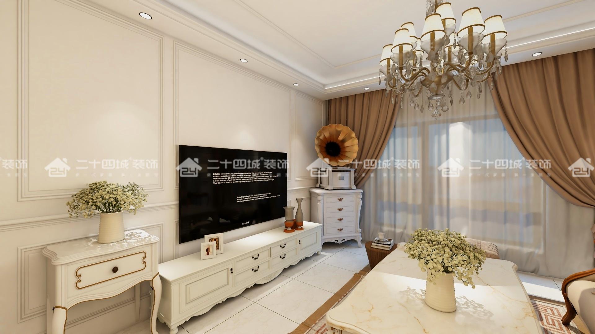 欧式 白领 收纳 旧房改造 80后 小资 简约 混搭 三居 客厅图片来自二十四城装饰(集团)昆明公司在俊发·紫薇苑  欧式的分享