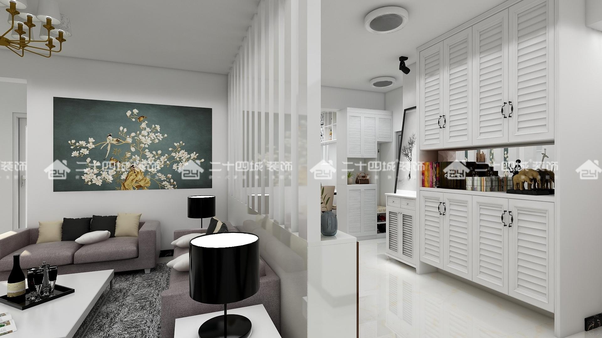 现代简约 简约 现代 三居 白领 收纳 旧房改造 小资 混搭 客厅图片来自二十四城装饰(集团)昆明公司在新迎小区 现代简约的分享