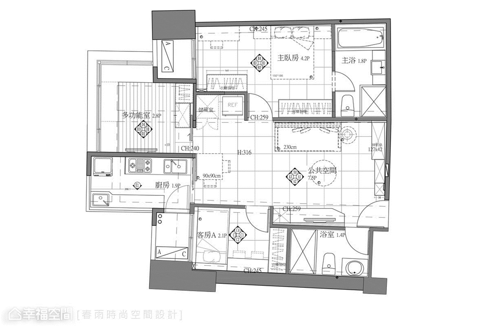 装修设计 装修完成 休闲风格 户型图图片来自幸福空间在69平, 跨龄美式混搭温馨宅的分享
