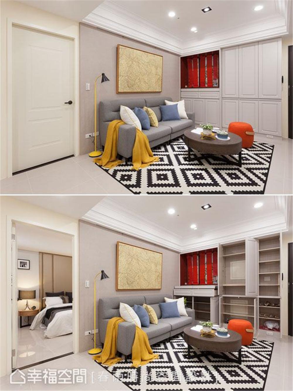 装修设计 装修完成 休闲风格 玄关图片来自幸福空间在69平, 跨龄美式混搭温馨宅的分享