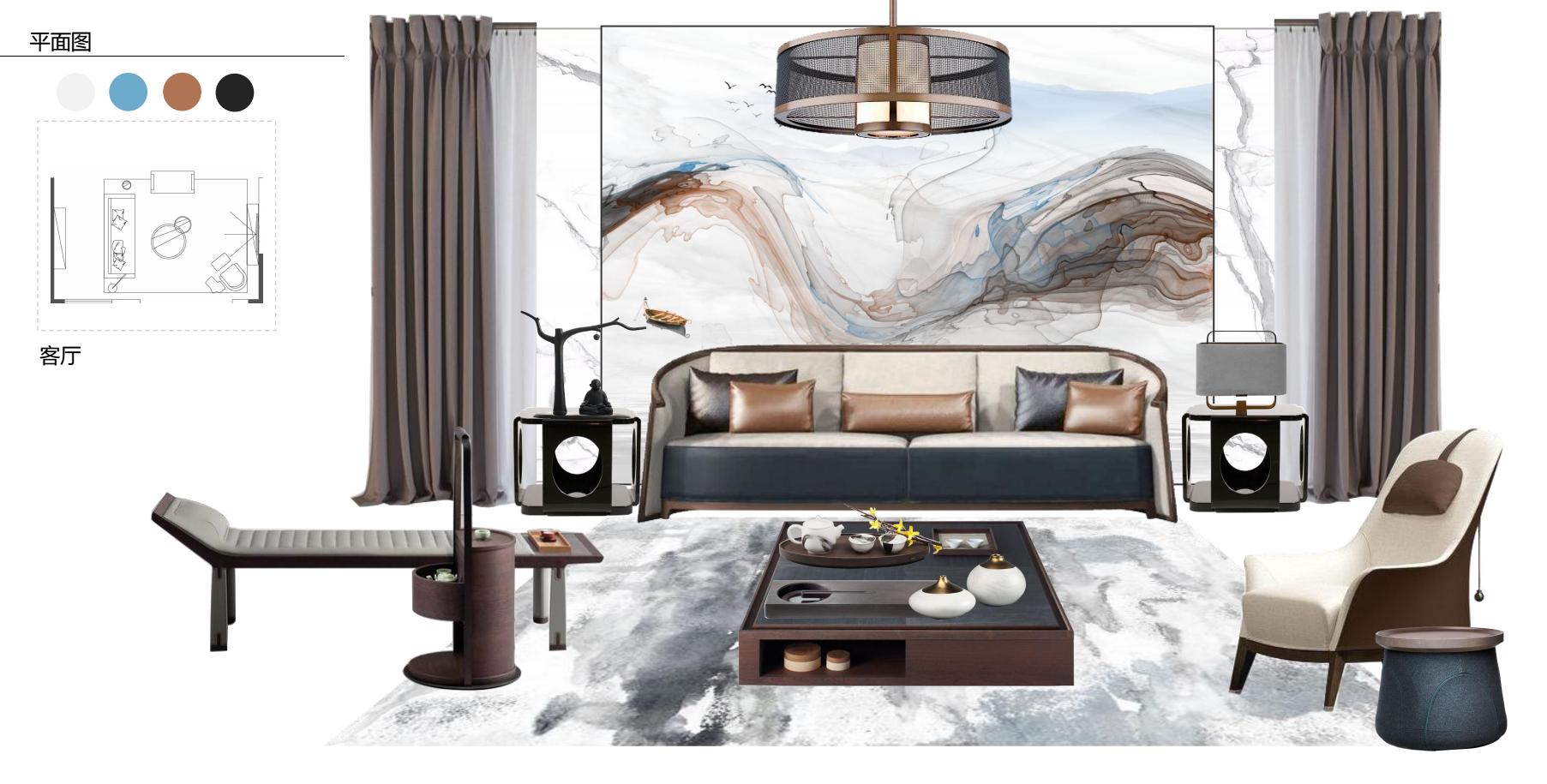 禅意高端 新中式风格 石木源设计 80后 客厅图片来自石木源设计在禅意高端软装定制的分享
