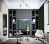 客厅使用灰色开放式储物柜做为电视背景墙,带来十足的现代质感,无论是茶几简约的线条,还是灯光的设计,都透露出恰到好处的舒适。